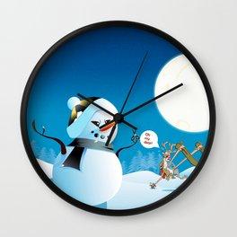 "Angry Snowman and Santa's Reindeer saying ""Oh my deer!"" Wall Clock"