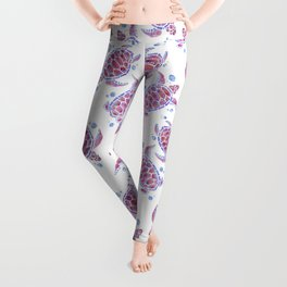 """Watercolor Painting of Picture """"Decorative Turtles"""" Leggings"""