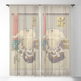 A strong Sumo Wrestler Hidenoyama, Sumo Wrestling Sheer Curtain
