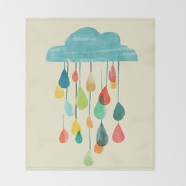 cloudy with a chance of rainbow Throw Blanket