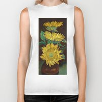 sunflowers Biker Tanks featuring Sunflowers by Michael Creese