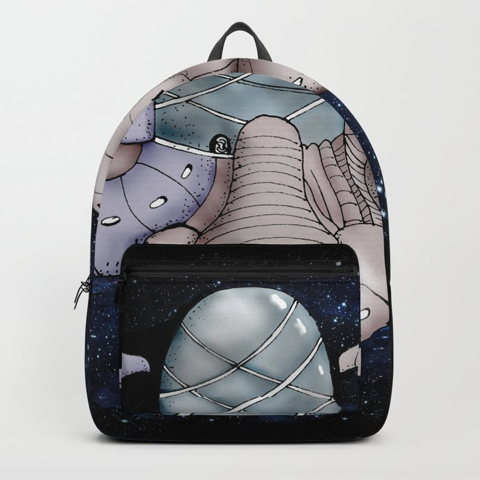 Space station from the fantastic world of the future Backpack