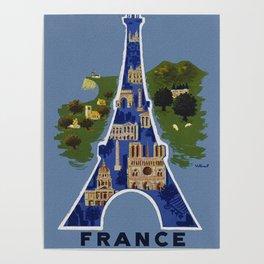 Vintage France Eiffel Tower Travel Poster Poster