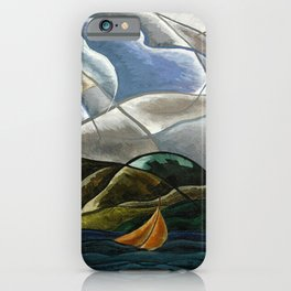 Clouds and Water with Sailboats nautical landscape painting by Arthur Dove iPhone Case