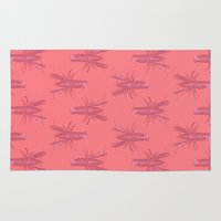 lobster Area & Throw Rugs featuring Pink Lobster by The Wallpaper Files