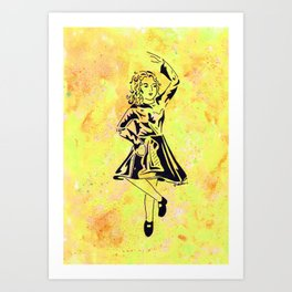 Imbolc  (traditional Irish step dancer celebrating Brigid and the festival of light) Art Print