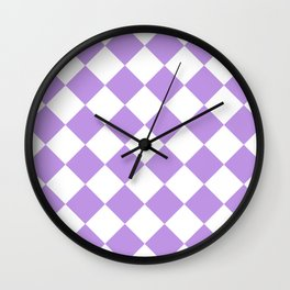 Large Diamonds - White and Light Violet Wall Clock