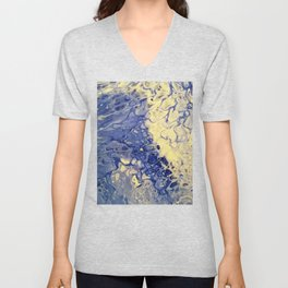 Wipeout Acrylic Liquid Pour Painting Art Unisex V-Neck