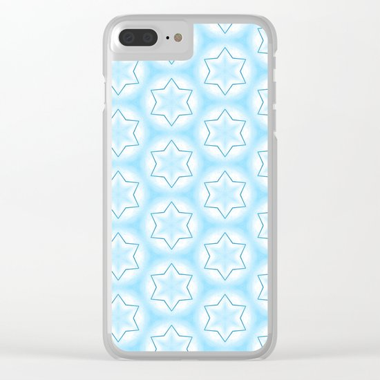 Shiny light blue winter star snowflakes pattern Clear iPhone Case