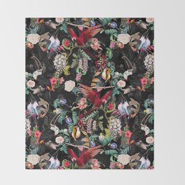 Floral and Birds IX Throw Blanket