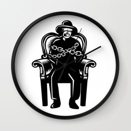 Man Gagged Chained to Grand Arm Chair Woodcut Wall Clock