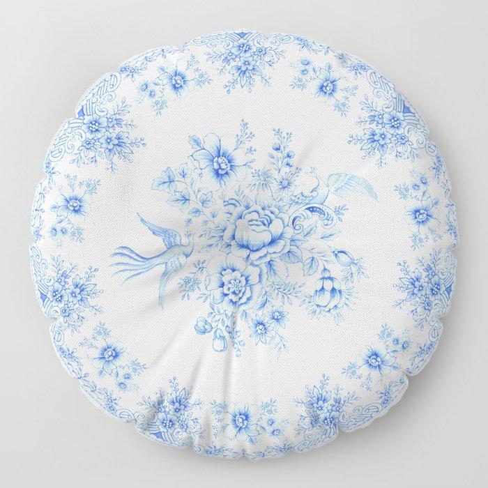 Blue asiatic pheasant Floor Pillow