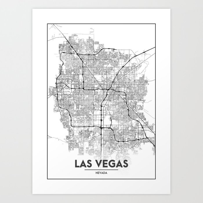 Minimal City Maps - Map Of Las Vegas, Nevada, United States Art Print by  valsymot