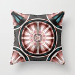 Pinwheel Hubcap in Pink Throw Pillow