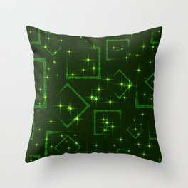 Green rhombuses and squares at the intersection with the stars on a grassy background. Throw Pillow