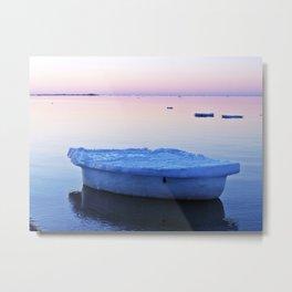 Ice Raft at Dusk on Calm Seas Metal Print