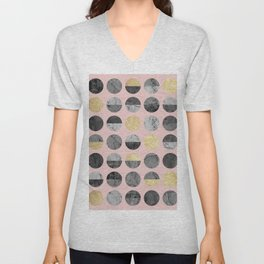 Marble and gold circles pattern II Unisex V-Neck