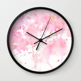 Watercolor Abstract Cherry Tree Pink Wall Clock