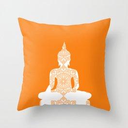 Yoga Art Buddha silhouette in orange Throw Pillow
