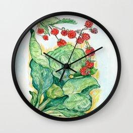 Rhubarb and Raspberries Wall Clock