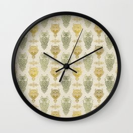 Gold and Green Glitter owl pattern on canvas Wall Clock