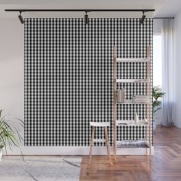Classic Small Black & White Gingham Check Pattern Wall Mural