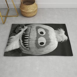 Quirky Pumpkin Head - bw Rug