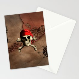 The Jolly Roger Pirate Map Stationery Cards