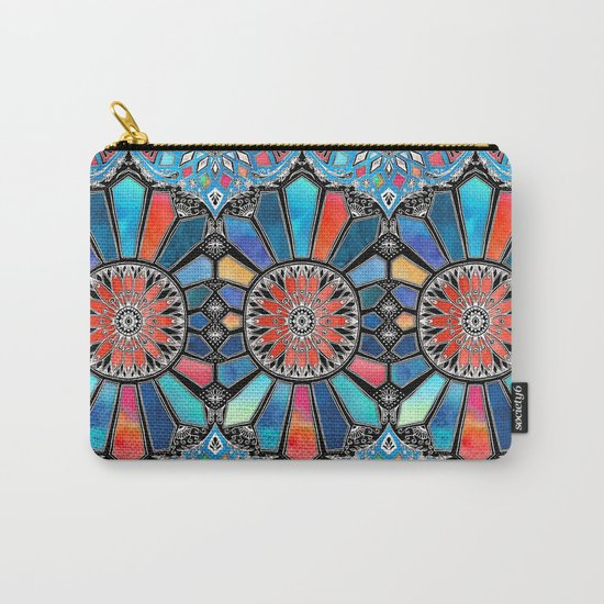 Iridescent Watercolor Brights on Black Carry-All Pouch