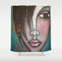 lolita Shower Curtains featuring LOLITA by Sandra Mucciardi