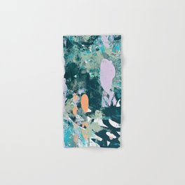Sugar and Flowers: a pretty abstract acrylic painting in blues greens and lavender  Hand & Bath Towel