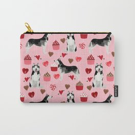 Husky Siberian Huskies dog breed valentines day love pattern print by pet friendly for dog person Carry-All Pouch