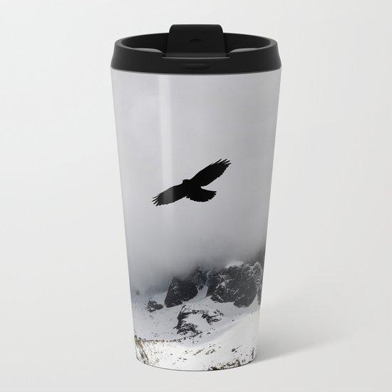 Black Over Grey Over White Metal Travel Mug