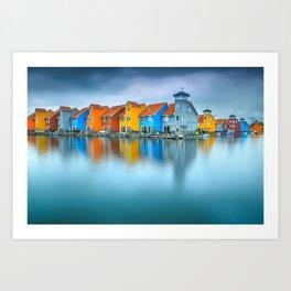 Blue Morning at Waters Edge Groningen Netherlands Europe Coastal Landscape Photograph Art Print