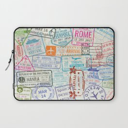Vintage World Map with Passport Stamps Laptop Sleeve