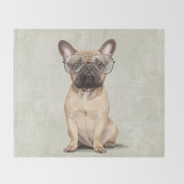 Mr French Bulldog Throw Blanket