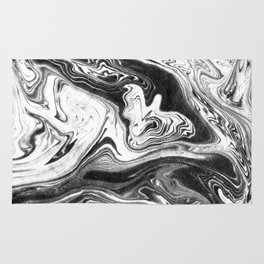 Mishiko - spilled ink abstract marble painting black and white minimal modern marbled paper water  Rug