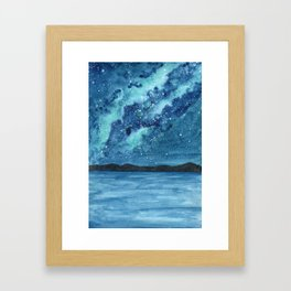 """Sea Glass Galaxy"" watercolor landscape painting Framed Art Print"