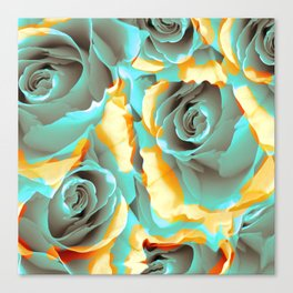 blue roses in yellow clouds Canvas Print