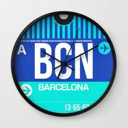 BCN Barcelona Luggage Tag 2 Wall Clock