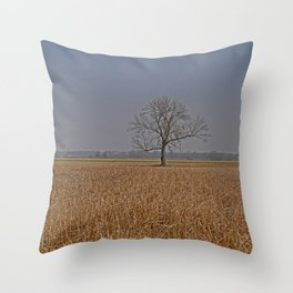 One Tree in a corn field Throw Pillow