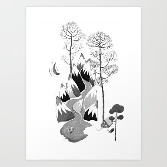 The Cabin in the Mountains Art Print