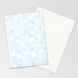 Monstera (White Glow) - Blue Stationery Cards