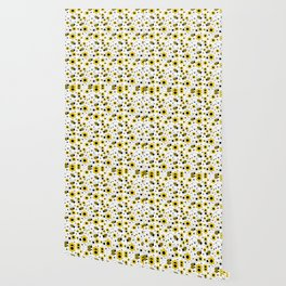 Honey Bumble Bee Yellow Floral Pattern Wallpaper