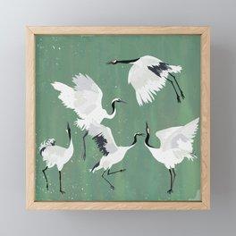 Dancing cranes - jade green Framed Mini Art Print