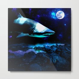Outer Space Shark Metal Print