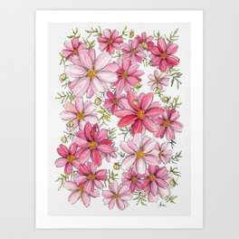 Pink Spring Flower Pattern Art Print