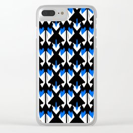 Edgy Black white Blue Pattern Clear iPhone Case