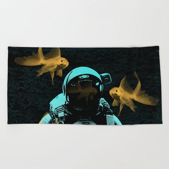 astronauts and goldfish Beach Towel