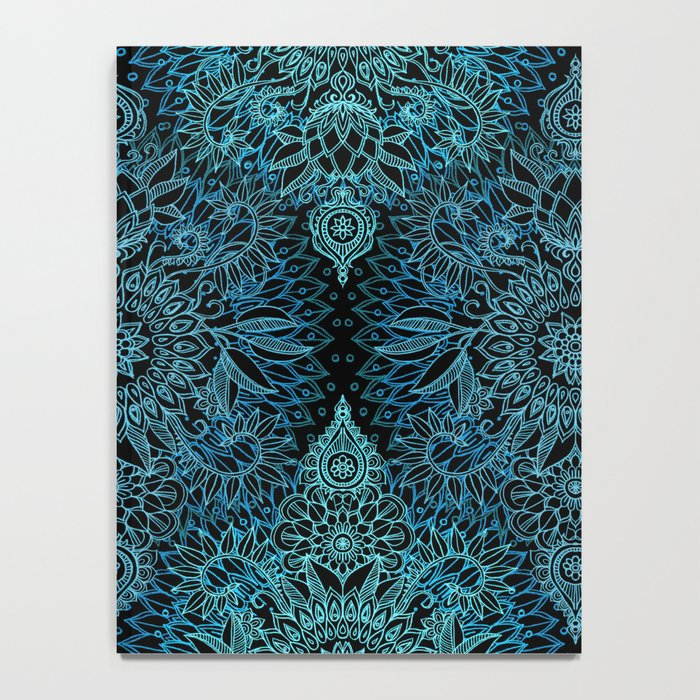 Black & Aqua Protea Doodle Pattern Notebook